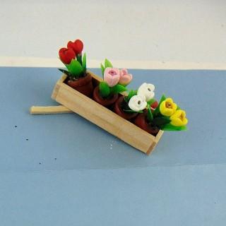 Jardinière de fleurs en bois miniature 1/12 4 cm