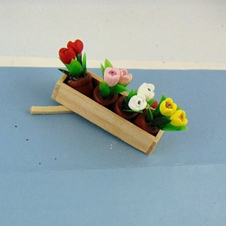 Miniature wooden flower planter 1/12 4 cm