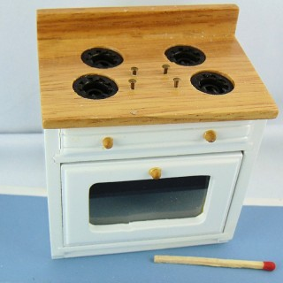 Cuisinière à gaz gazinière miniature maison poupée 9 cm.