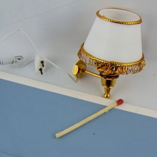 Miniature wall  brass lamp with candle for doll house 30 mms.