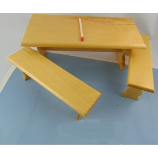 Table and 2 Miniature wooden furniture benches 15 cm