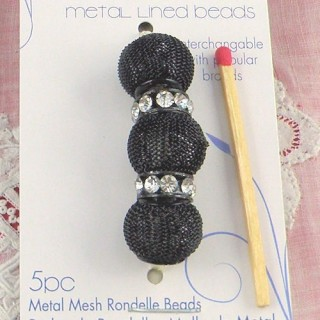 5 Large hole metal lined beads 14 mms.
