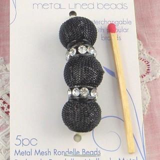 5 perlas metálicas trenzadas agujero grande 14 mm.