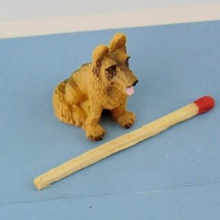 Deutscher Schäferhund 3 cm Puppenhaus Miniatur.