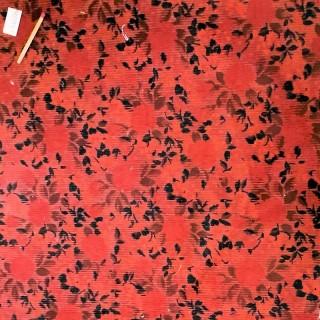 Coupon velours coton fleurs