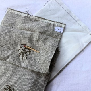 Large-width embroidered linen band 18 cm wide