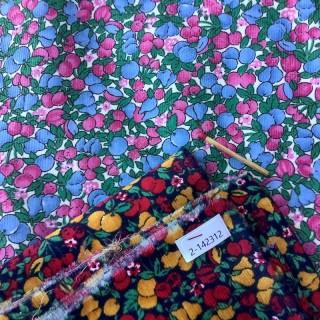 Tissu velours coton petites fleurs au mètre
