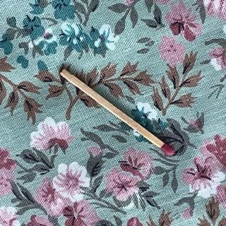Coupon de coton ancien à fleurs largeur 80x70 cm