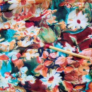 Coupon ancien crèpe à fleurs largeur 90x80 cm