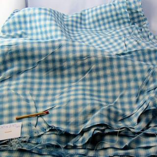 Coupon de tissu ancien en coton à carreaux 150x210cm