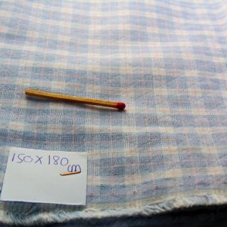 Coupon moletonné coton gratté à petits carreaux 150 x90cm