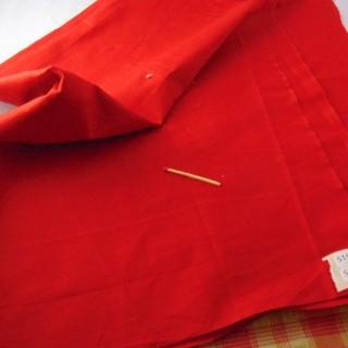 Coupon de coton fin rouge largeur 40x68 cm