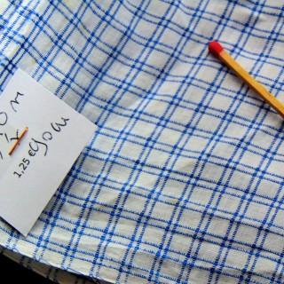 Tissu ancien en coton à carreaux 90 cm de large