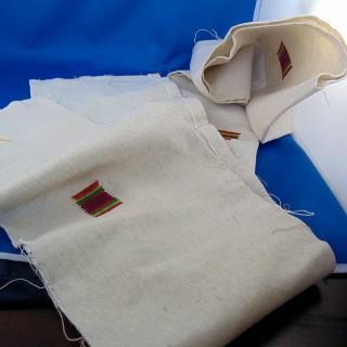 Banda de lino bordado de gran ancho de 17 cm de ancho