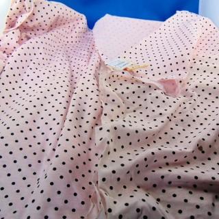 Tissu coton à pois jersey molletonné par 50 centimètre en 160 cm