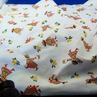 Coupon coton blanc imprimé fantaisie Mexique 150 x 54 cm