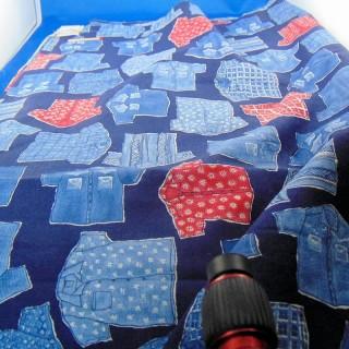 Coupon coton bleu marine imprimé fantaisie 150 x 160 cm