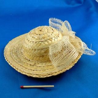 Chapeau de paille pour poupée porcelaine 16 cm.