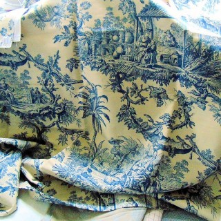 Jouy canvas coupon in linen furnishings 140 x 3 m