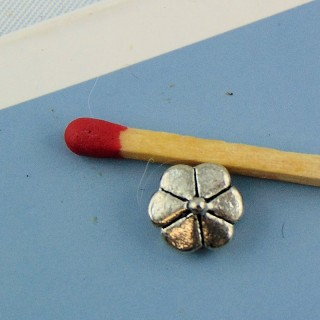 10 Perles fleurs métal 7 mm.