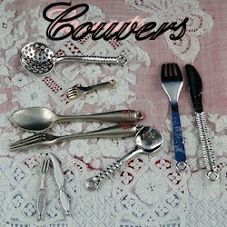 Cutlery, spoon, fork, knife miniature for doll.