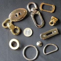 Accessoires métal, fourniture, matériel maroquinerie.