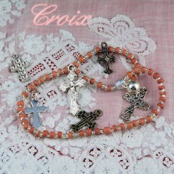 Mettalic Cross Charms, doll rosary.