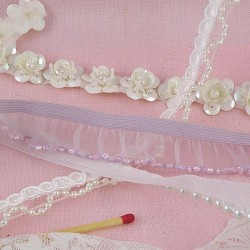 Pearls, glitter, sequins on ribbon.