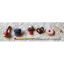 Food, snack, kitchen buttons and embellishments