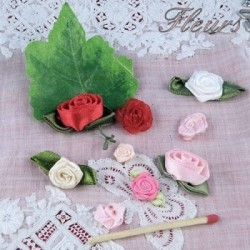 Fabric ribbon flowers and leaves.