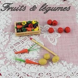 Blumen, Früchte und Gemüse.